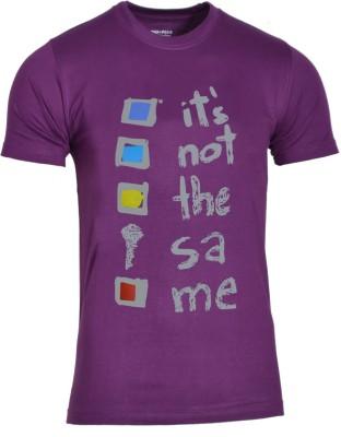 Avenster Sport Graphic Print Men's Round Neck Purple T-Shirt