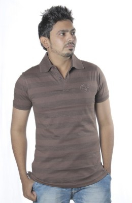 Poonam Striped Men's Polo Brown T-Shirt