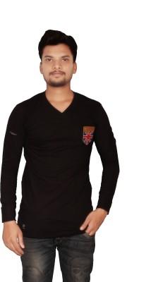 The Desi Attire Solid Men,s V-neck Black T-Shirt