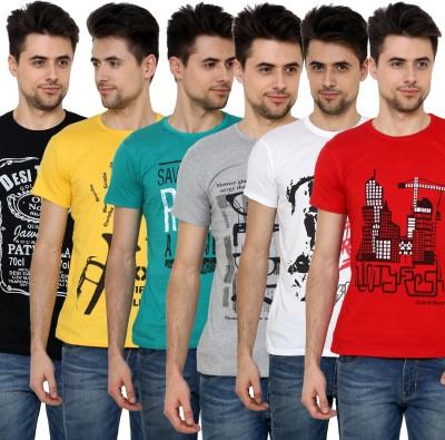 Grand Bear Printed Men's Round Neck Black, Green, Red, Yellow, Grey, White T-Shirt