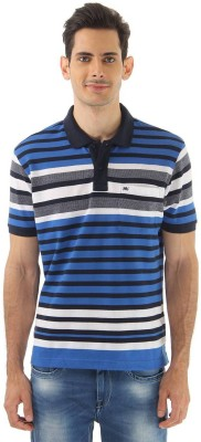 Monte Carlo Striped Men's Polo Neck Black, Blue T-Shirt