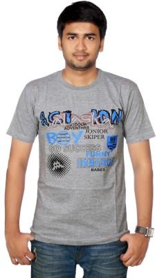 AADUKI Printed Men's Round Neck Grey T-Shirt