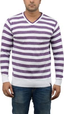 Blue Heaven Striped Men's V-neck Purple, White T-Shirt