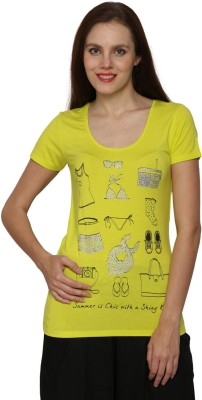 Prakum Solid Women's Round Neck Yellow T-Shirt