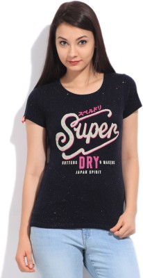 Superdry Printed Women's Round Neck Blue T-Shirt