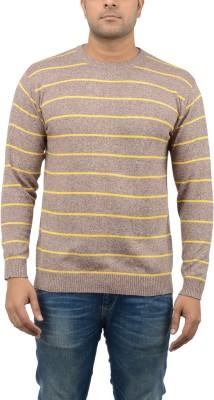 Blue Heaven Striped Men's Round Neck Orange, Yellow T-Shirt