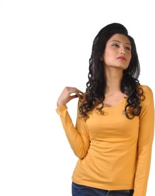 No Code Solid Women's Round Neck Yellow T-Shirt
