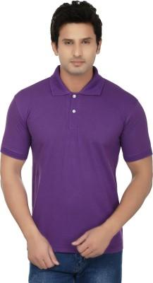 Kaar Solid Men's Polo Neck Purple T-Shirt