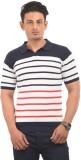 AMX Striped Men's Polo Neck Blue T-Shirt