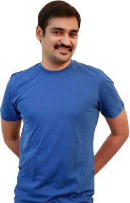 Zayn m, Solid Men's Round Neck Blue T-Shirt