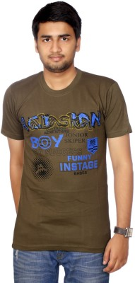 AADUKI Printed Men's Round Neck Multicolor T-Shirt