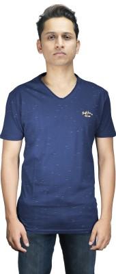 stopgrey Self Design Men,s, Boy's V-neck Dark Blue T-Shirt