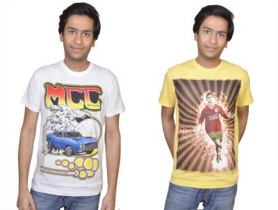 Inez Printed Men's Round Neck White, Yellow T-Shirt