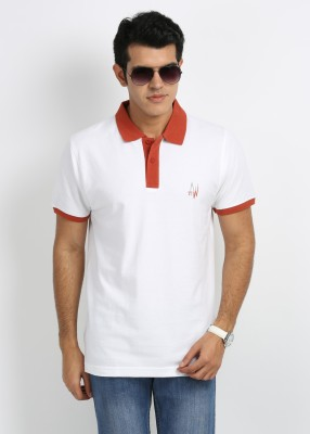 27Ashwood Solid Men's Polo White, Orange T-Shirt