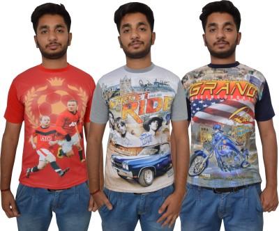 Shaun Printed Men's Round Neck Red, Grey, Dark Blue T-Shirt