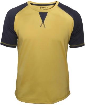 Poshuis Solid Men's Round Neck Black, Yellow T-Shirt