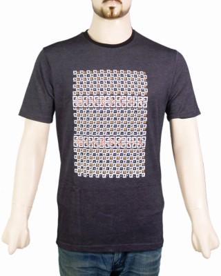 VR Designers Geometric Print Men,s Round Neck Black T-Shirt