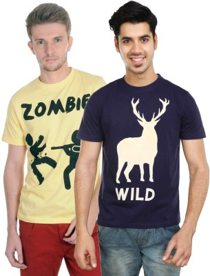 Algotton Graphic Print Men,s Round Neck Dark Blue, Yellow T-Shirt