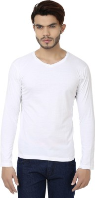 Bajo Solid Men's Round Neck White T-Shirt