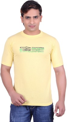 Martin Smith Printed Men's Round Neck Yellow T-Shirt