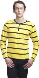 Clo Clu Striped Men's Round Neck Yellow ...