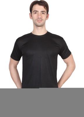 Randier Solid Men's Round Neck Black T-Shirt