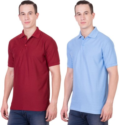 Randier Solid Men's Polo Neck Blue, Maroon T-Shirt