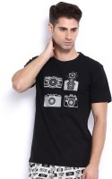 Nuteez Men's Wear - Nuteez Printed Men's Round Neck Black T-Shirt