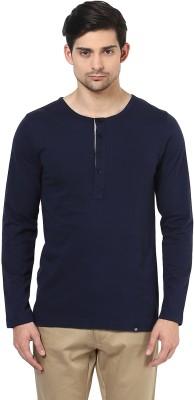 BUKKL Solid Men's Henley Blue T-Shirt