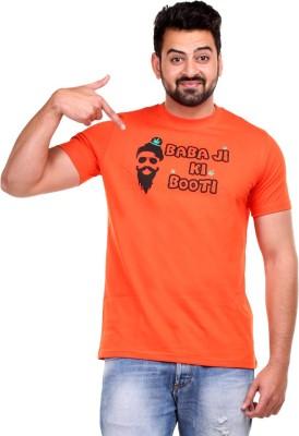 Clotone Printed Men's Round Neck Orange T-Shirt