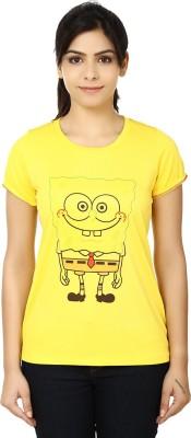 LetsFlaunt Printed Women's Round Neck Yellow T-Shirt