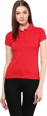 Trend18 Solid Women's Polo Neck Red T-Shirt
