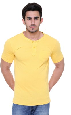 FREE RUNNER Solid Men's Round Neck Yellow T-Shirt