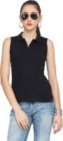 Alibi Solid Women's Polo Neck Black T-Shirt best price on Flipkart @ Rs. 240