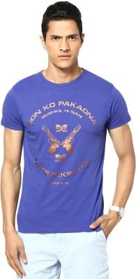 Gabambo Graphic Print Men's Round Neck Dark Blue T-Shirt