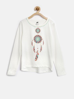 YK Printed Girl's Round Neck White T-Shirt