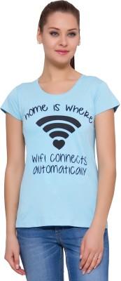 Alibi By INMARK Printed Women's Round Neck Light Blue T-Shirt
