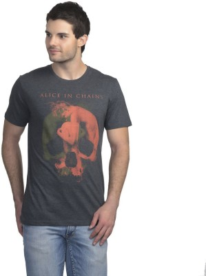 Alice In Chains Printed Men's Round Neck Grey T-Shirt
