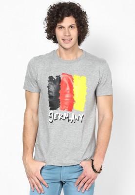 Blotch Printed Men's Round Neck Grey T-Shirt
