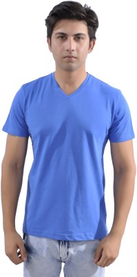 Sparkk Solid Men's V-neck Blue T-Shirt