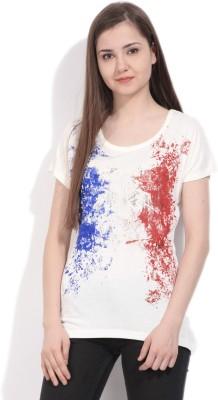 Elle Printed Women's Round Neck White, Blue, Red T-Shirt