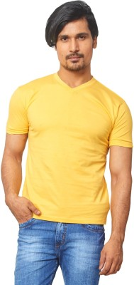 THOR Solid Men's V-neck Yellow T-Shirt