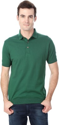 Peter England Solid Men's Polo Neck Green T-Shirt