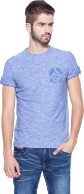 Mufti Solid Men's Round Neck Blue T-Shirt