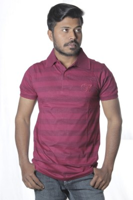 Poonam Striped Men's Polo Maroon T-Shirt