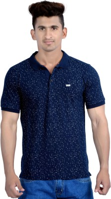 Parv Collections Printed Men's Polo Neck Blue T-Shirt