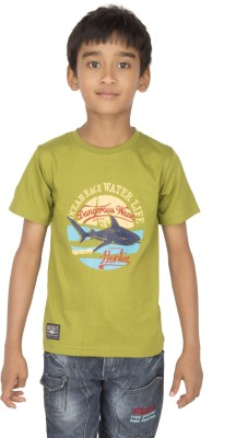 Ocean Race Printed Boy's Round Neck Dark Green T-Shirt