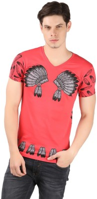 A1 Tees Printed Men's V-neck Red T-Shirt