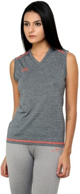 Dida Sportswear Solid Women's V-neck Grey T-Shirt