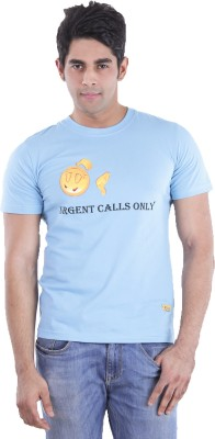 Texco Printed Men,s Round Neck Blue T-Shirt